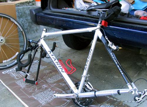 bike disassembled for box